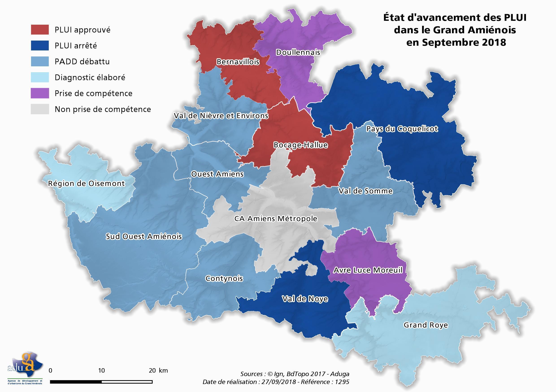 La carte du mois : 2 PLUi approuvés sur les 14 en cours d'élaboration dans le Grand Amiénois
