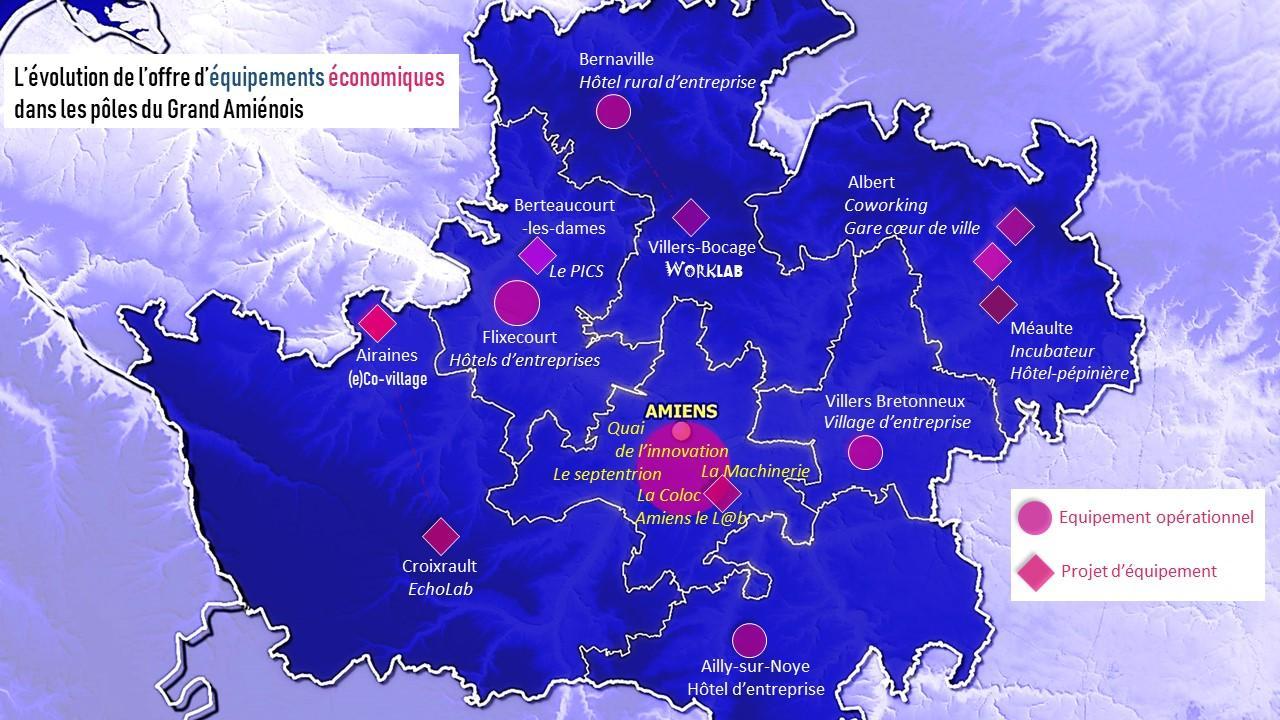 La carte du mois : Immobilier d'entreprises et espaces de travail collaboratifs innovants dans le Grand Amiénois