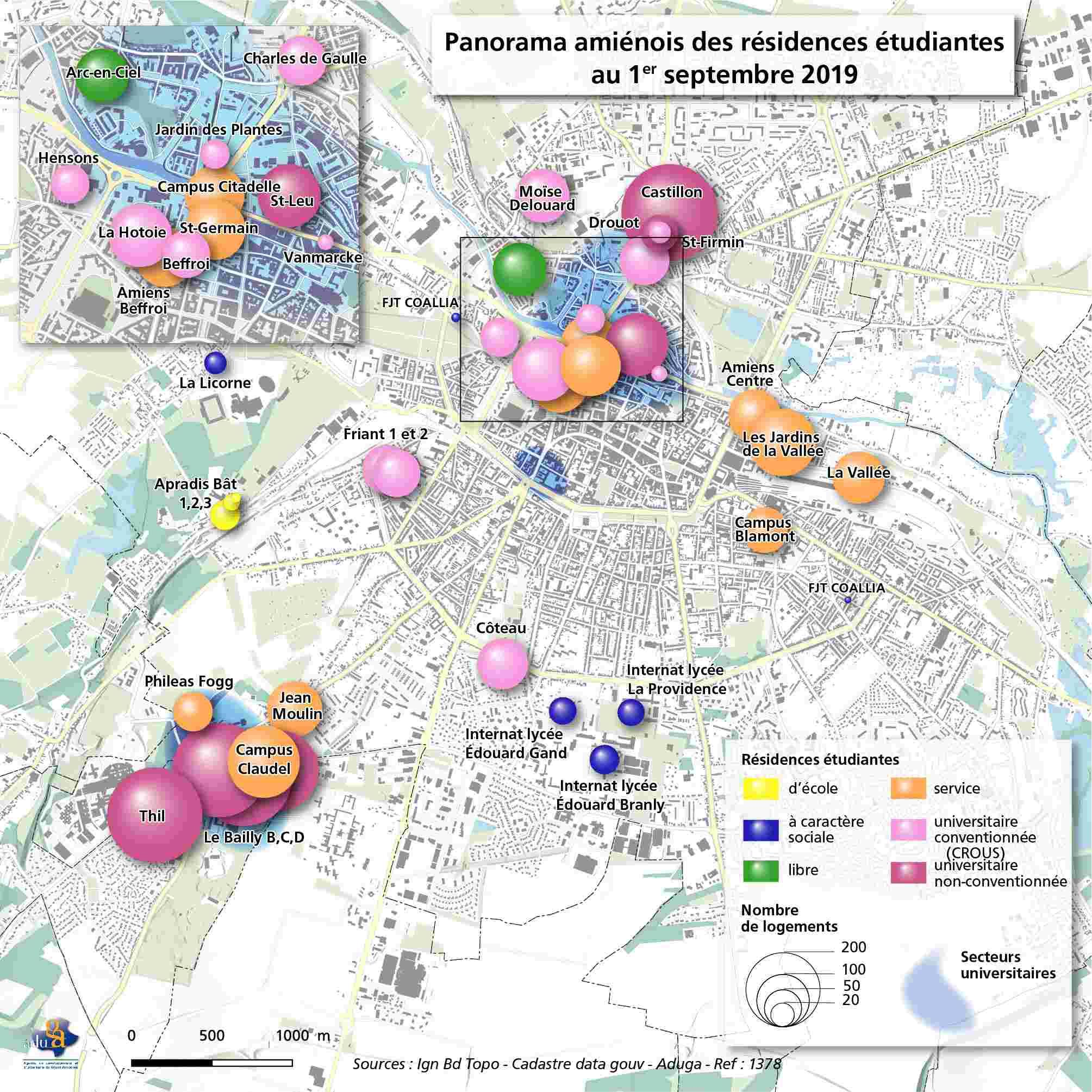 La carte du mois : Résidences étudiantes - Observatoire territorial du logement des étudiants - Premiers résultats