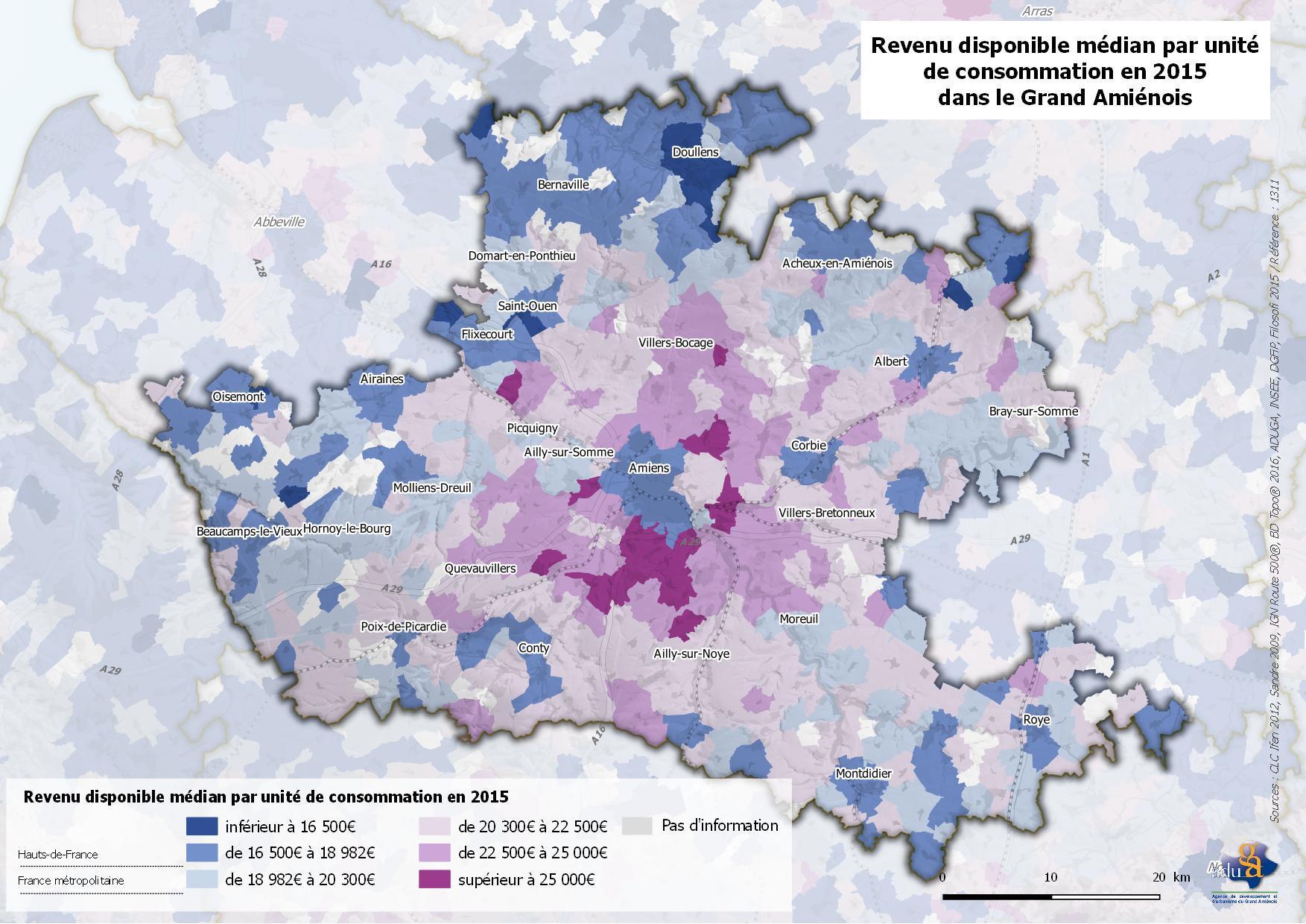 La carte du mois : Une très grande hétérogénéité des niveaux de vie