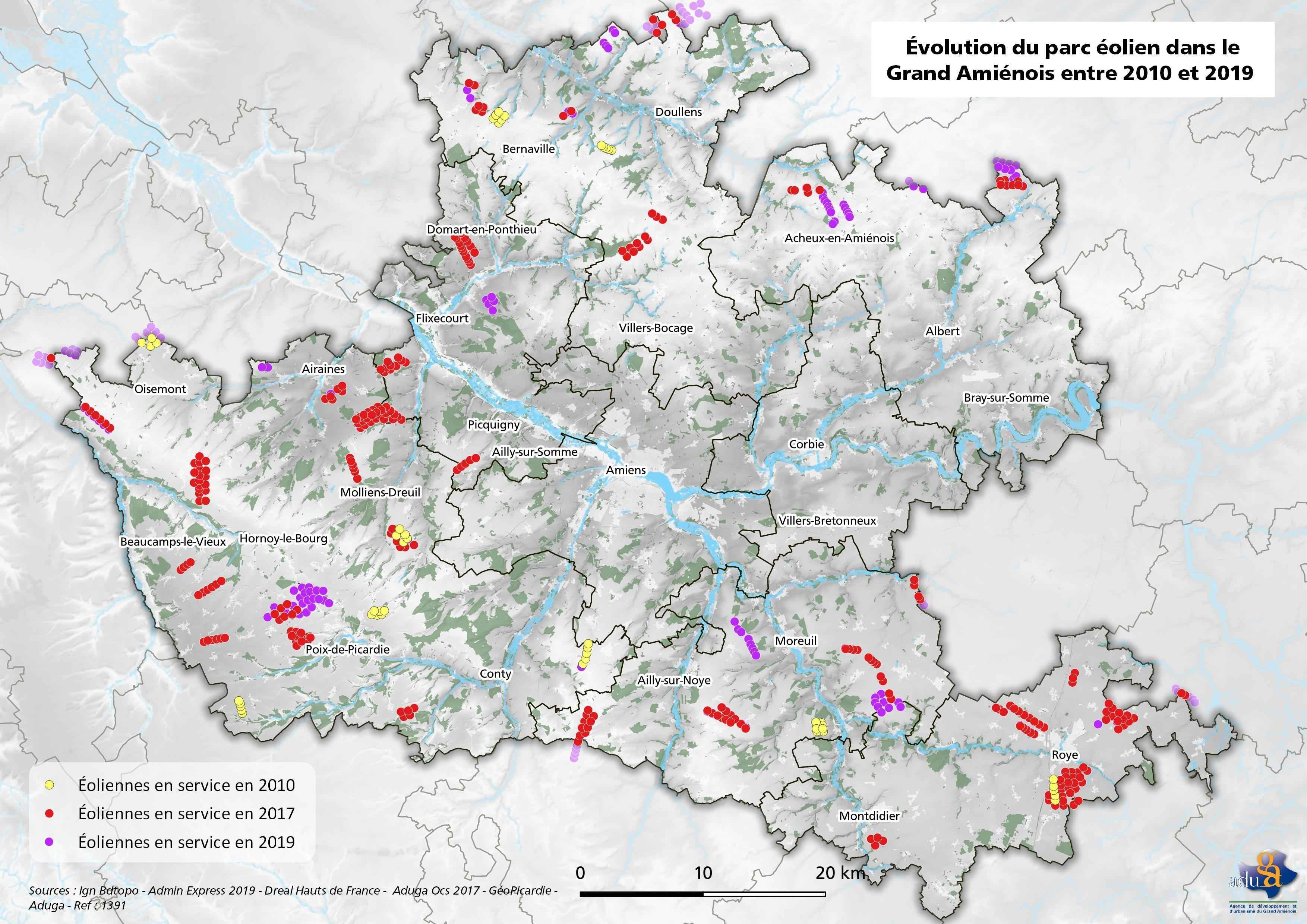 La carte du mois: Evolution du parc éolien dans le Grand Amiénois entre 2010 et 2019