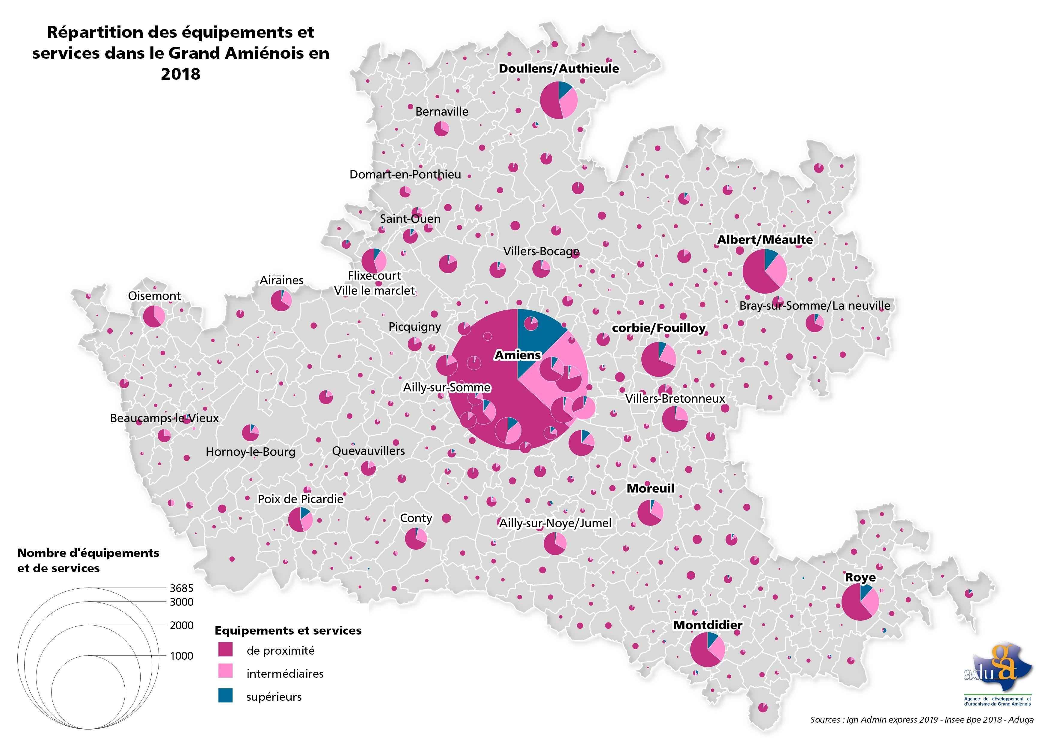 La carte du mois: Répartition des équipements et services dans le Grand Amiénois