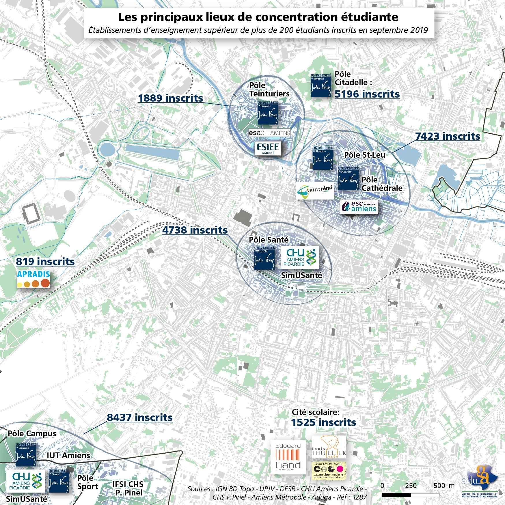 La carte du mois: Les principaux lieux de concentration étudiante d'Amiens