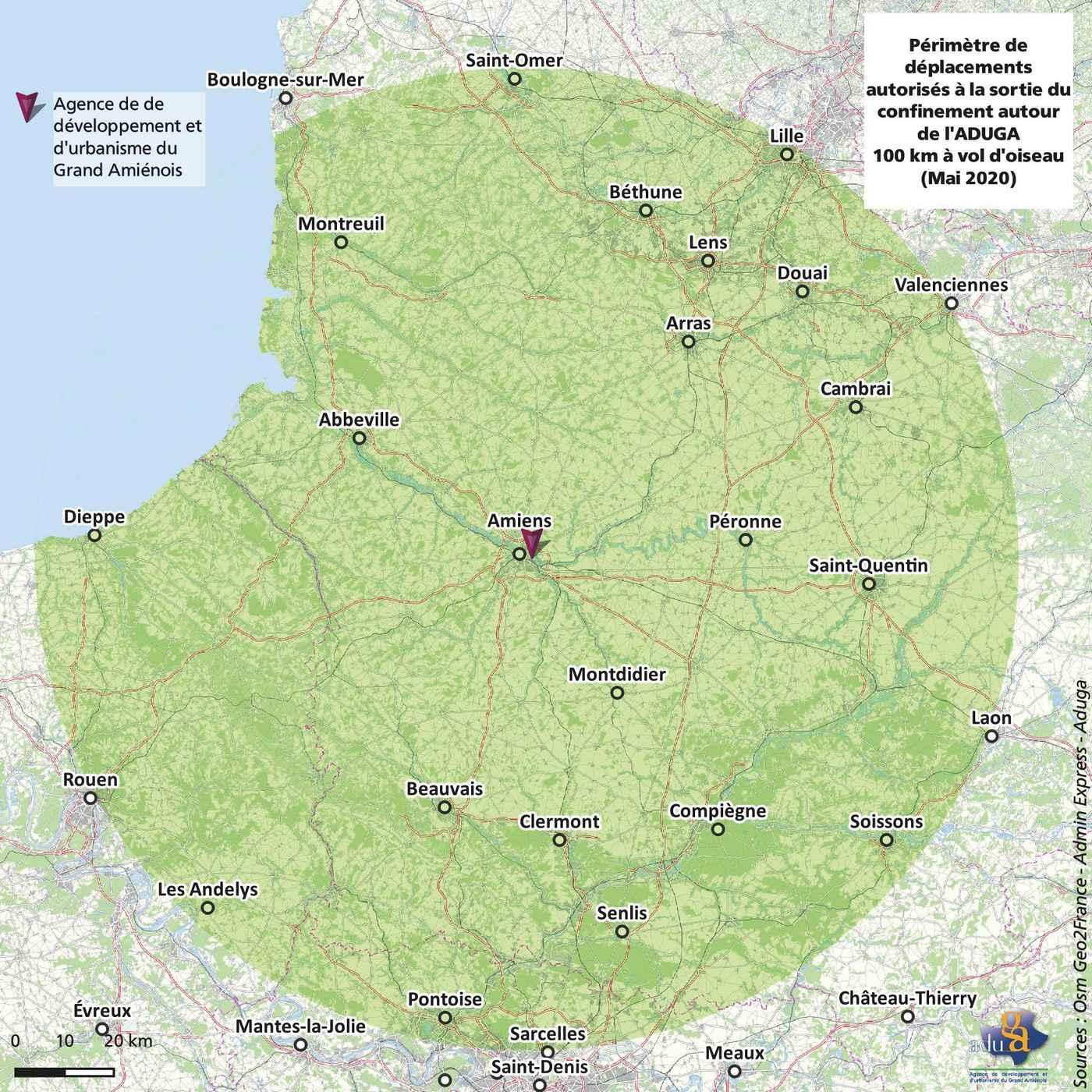 La carte du mois. 100 km à vol d'oiseau depuis Amiens