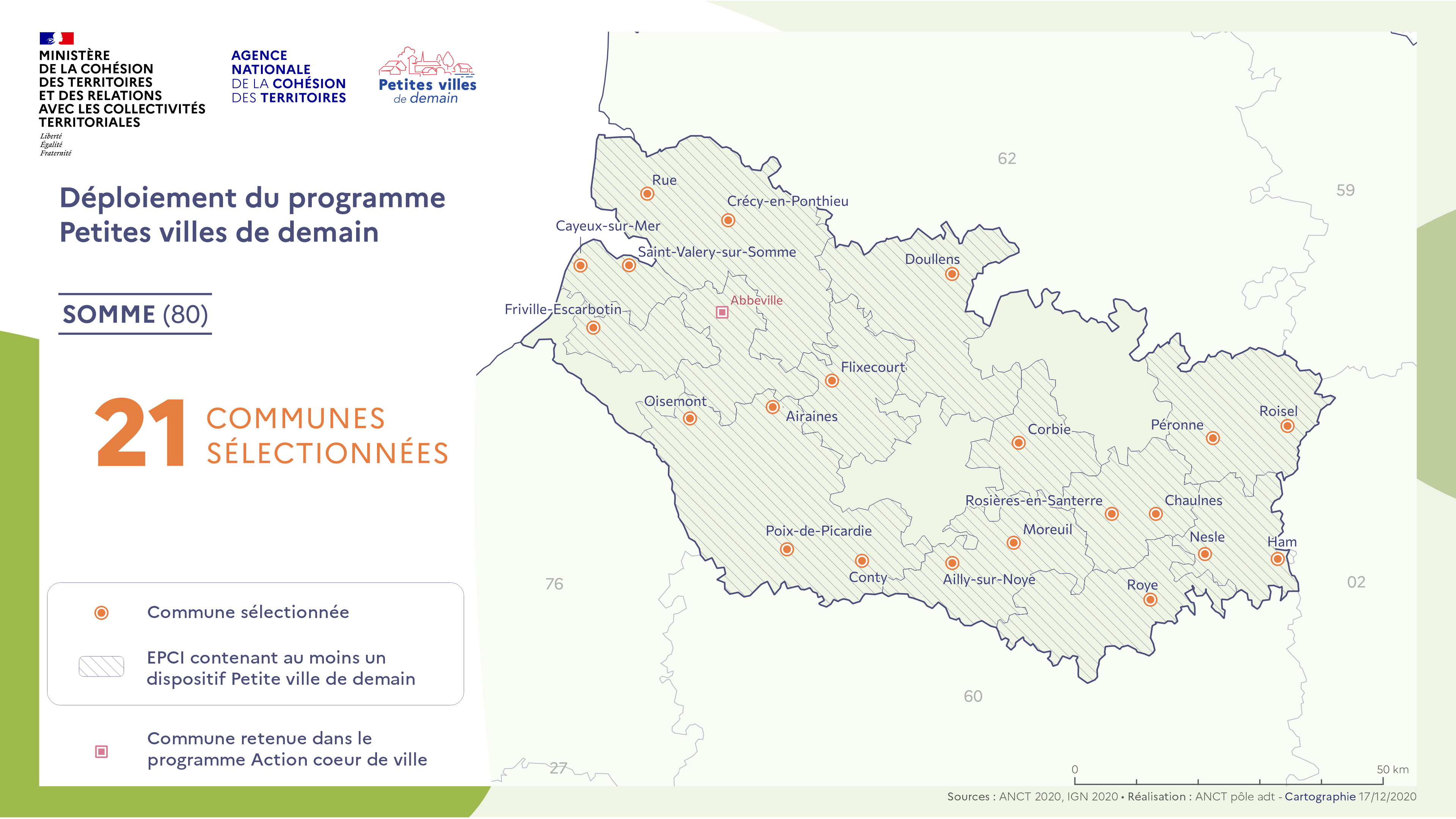 La carte du mois. Programme Petites Villes de demain: Liste des communes retenues du Grand Amiénois