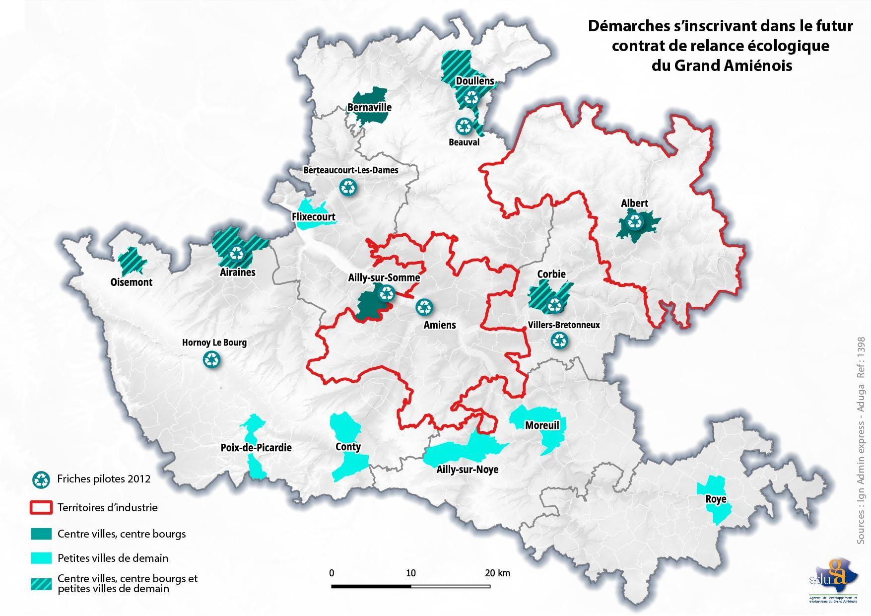 La carte du mois. Démarches s'inscrivant dans le futur contrat de relance écologique du Grand Amiénois