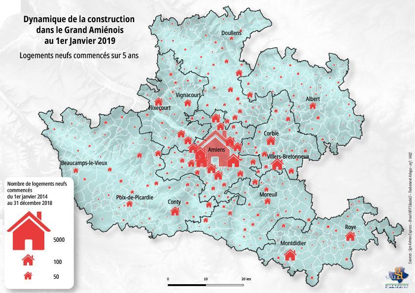 La carte du mois. Dynamique de la construction de logements neufs dans le Grand Amienois
