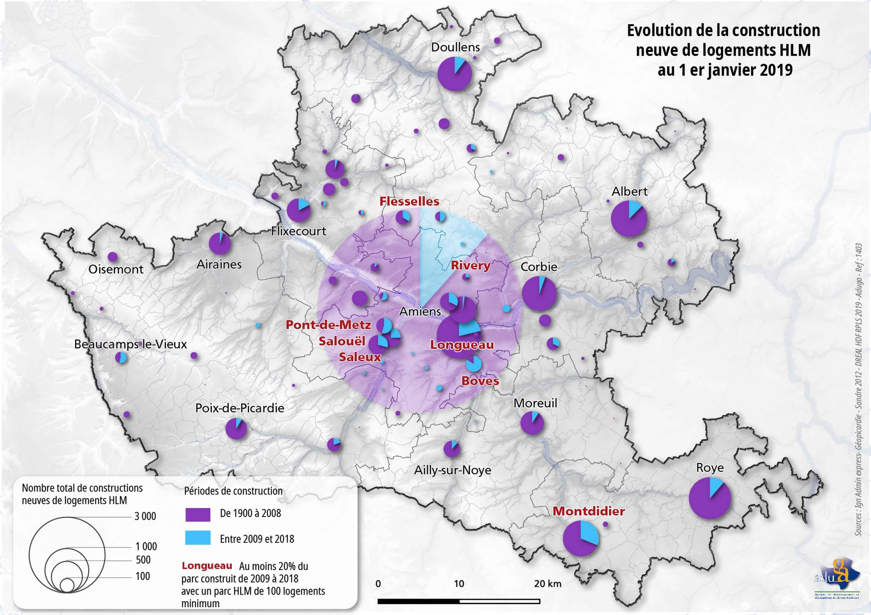 La carte du mois. Évolution de la construction neuve de logements HLM dans le Grand Amiénois