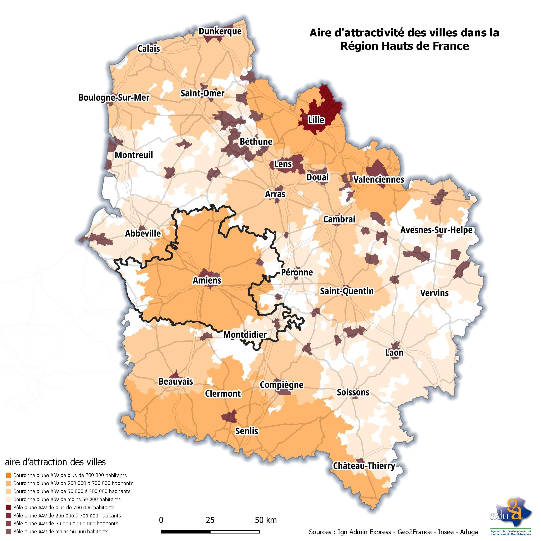 La carte du mois. Aire d'attractivité des villes dans la Région Hauts de France